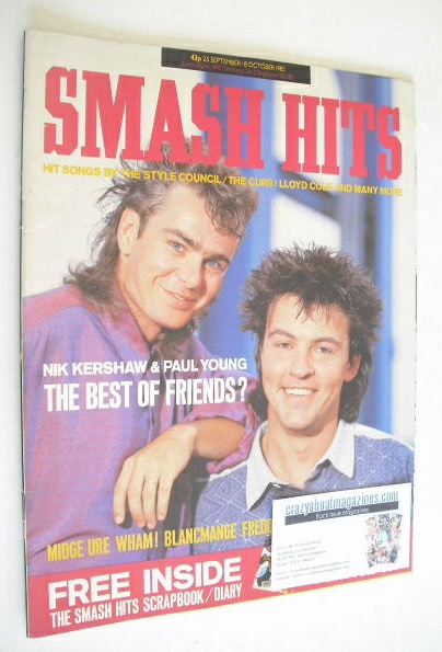 <!--1985-09-25-->Smash Hits magazine - Nik Kershaw and Paul Young cover (25