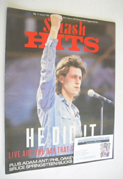 <!--1985-07-17-->Smash Hits magazine - Bob Geldof cover (17-30 July 1985)