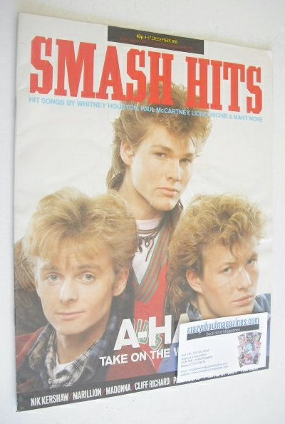 <!--1985-12-04-->Smash Hits magazine - A-Ha cover (4-17 December 1985)