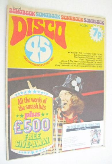 <!--1973-08-->Disco 45 magazine - No 34 - August 1973 - Noddy Holder cover
