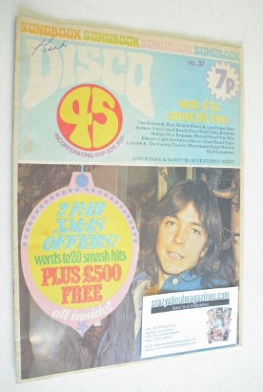 <!--1973-11-->Disco 45 magazine - No 37 - November 1973 - David Cassidy cov