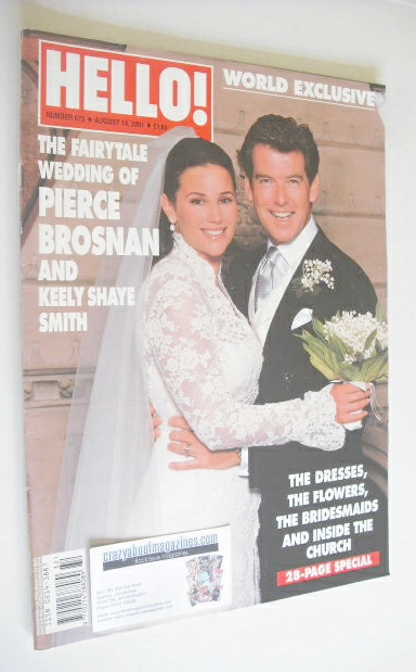 Hello Magazine Pierce Brosnan And Keely Shaye Smith Wedding Cover 14 August 2001 Issue 675