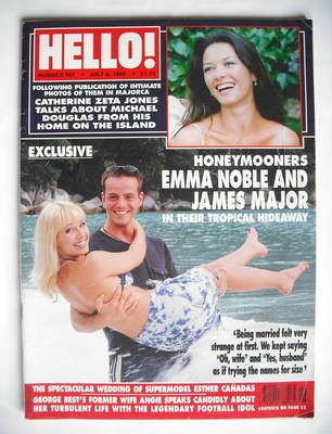 <!--1999-07-06-->Hello! magazine - Emma Noble and James Major cover (6 July