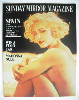 Sunday Mirror magazine - Madonna cover (18 June 1989)