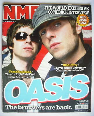 <!--2005-04-30-->NME magazine - Oasis cover (30 April 2005)