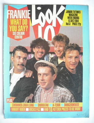 <!--1984-12-15-->Look In magazine - Frankie Goes To Hollywood cover (15 Dec
