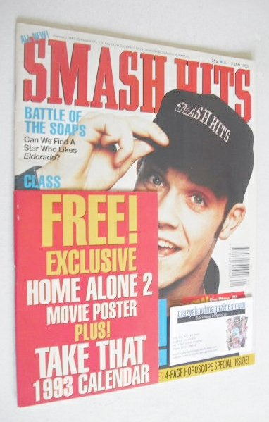 <!--1993-01-06-->Smash Hits magazine - Robbie Williams cover (6-19 January