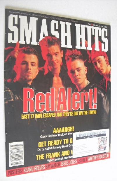 <!--1993-01-20-->Smash Hits magazine - East 17 cover (20 January - 2 Februa