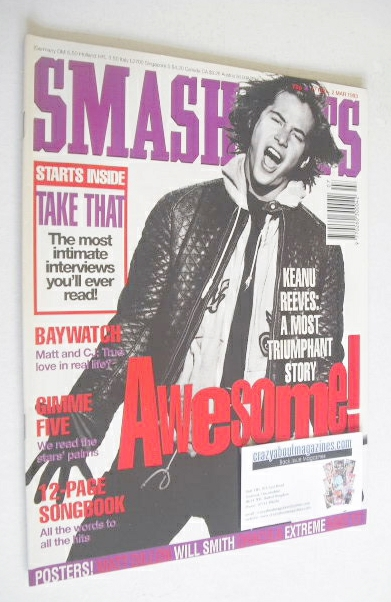 <!--1993-02-17-->Smash Hits magazine - Keanu Reeves cover (17 February - 2