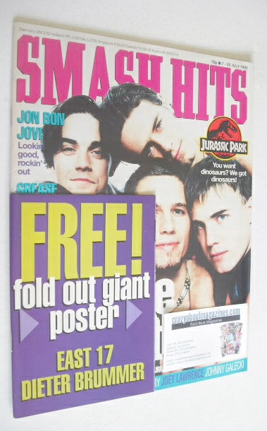 <!--1993-07-07-->Smash Hits magazine - Take That cover (7-20 July 1993)