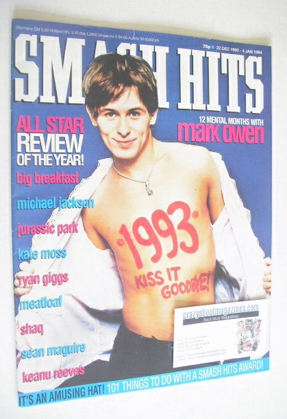 <!--1993-12-22-->Smash Hits magazine - Mark Owen cover (22 December 1993 -