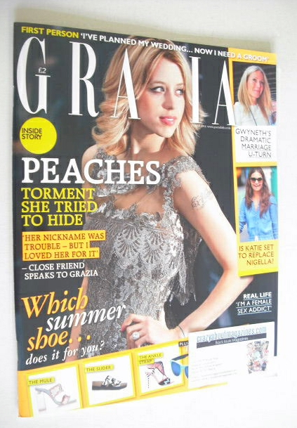 <!--2014-04-21-->Grazia magazine - Peaches Geldof cover (2 April 2014)