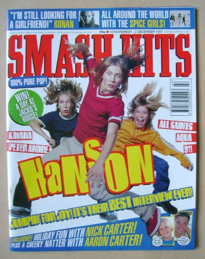 <!--1997-11-19-->Smash Hits magazine - Hanson cover (19 November - 2 Decemb