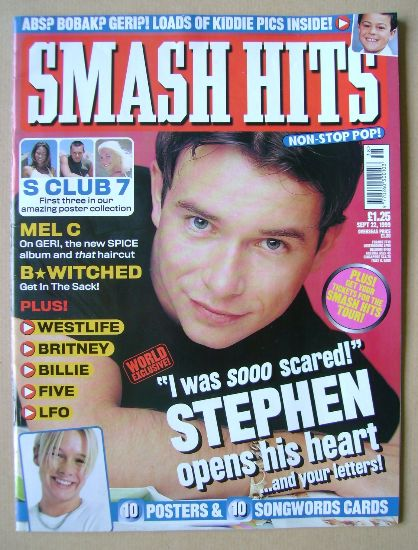<!--1999-09-22-->Smash Hits magazine - Stephen Gately cover (22 September 1