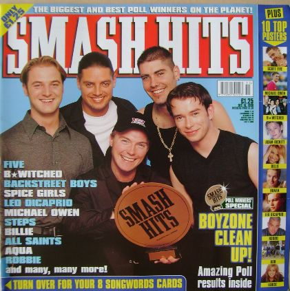 <!--1998-12-16-->Smash Hits magazine - Boyzone cover (16 December 1998)