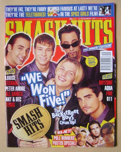 <!--1997-12-03-->Smash Hits magazine - Backstreet Boys cover (3-16 December