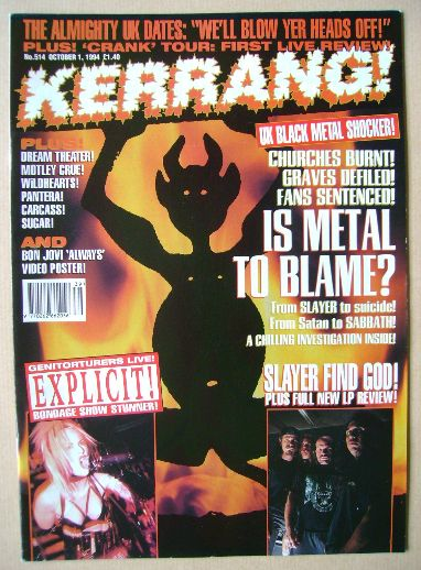 <!--1994-10-01-->Kerrang magazine - 1 October 1994 (Issue 514)