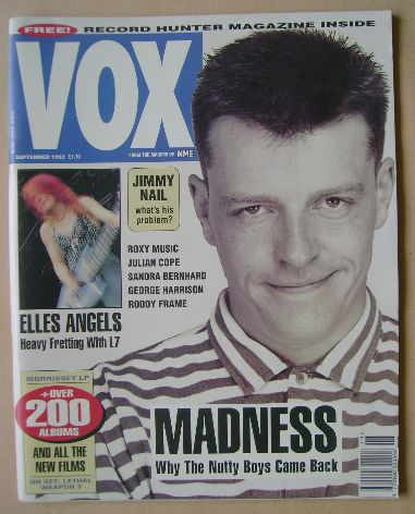<!--1992-09-->VOX magazine - Suggs cover (September 1992 - Issue 24)