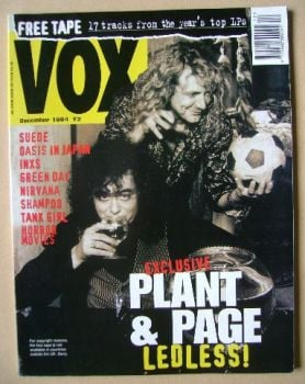 VOX magazine - Robert Plant and Jimmy Page cover (December 1994 - Issue 51)