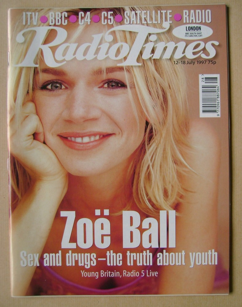 <!--1997-07-12-->Radio Times magazine - Zoe Ball cover (12-18 July 1997)