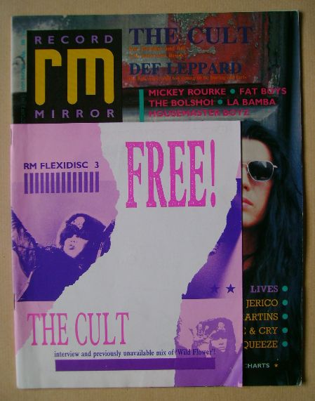 <!--1987-10-03-->Record Mirror magazine - The Cult cover (3 October 1987)