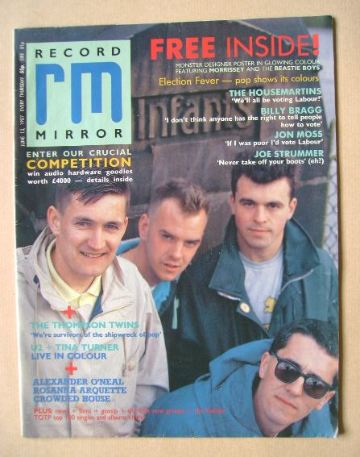 <!--1987-06-13-->Record Mirror magazine - The Housemartins cover (13 June 1
