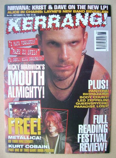 <!--1994-09-10-->Kerrang magazine - Ricky Warwick cover (10 September 1994