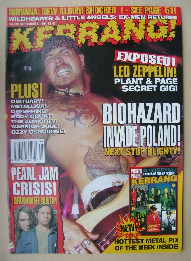 <!--1994-09-03-->Kerrang magazine - Evan Seinfeld cover (3 September 1994 -