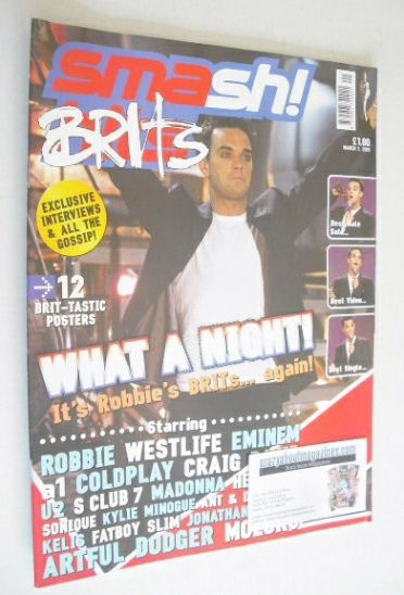<!--2001-03-01-->Smash Hits magazine - Robbie Williams cover (1 March 2001)