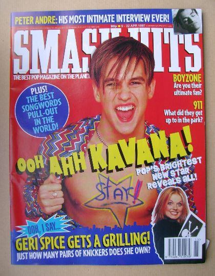 <!--1997-04-09-->Smash Hits magazine - Kavana cover (9-22 April 1997)