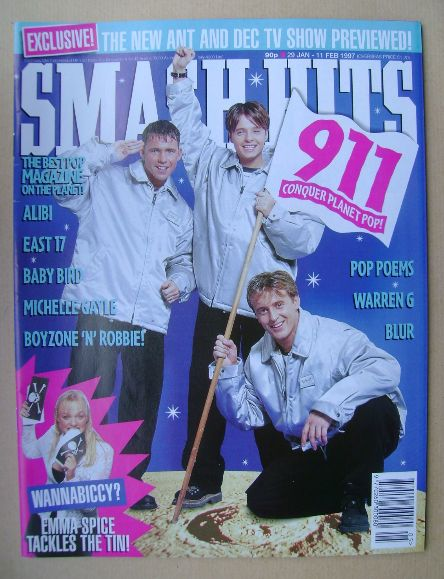 <!--1997-01-29-->Smash Hits magazine - 911 cover (29 January - 11 February