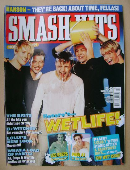 <!--2000-03-22-->Smash Hits magazine - Westlife cover (22 March 2000)