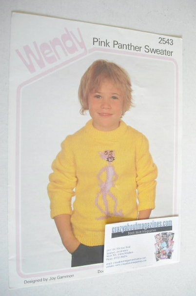 Pink Panther Sweater Knitting Pattern (Wendy 2543) (20-34 inch)