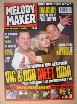 Melody Maker magazine - Vic Reeves, Nina Persson and Bob Mortimer cover (26 April-2 May 2000)