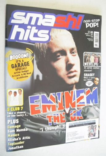 <!--2001-03-07-->Smash Hits magazine - Eminem cover (7 March 2001)