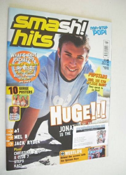 <!--2001-02-21-->Smash Hits magazine - Jonathan Wilkes cover (21 February 2