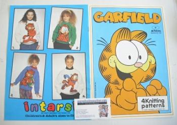 Garfield Sweater Knitting Patterns x4 (Patons 336) (Child/Adult Size)