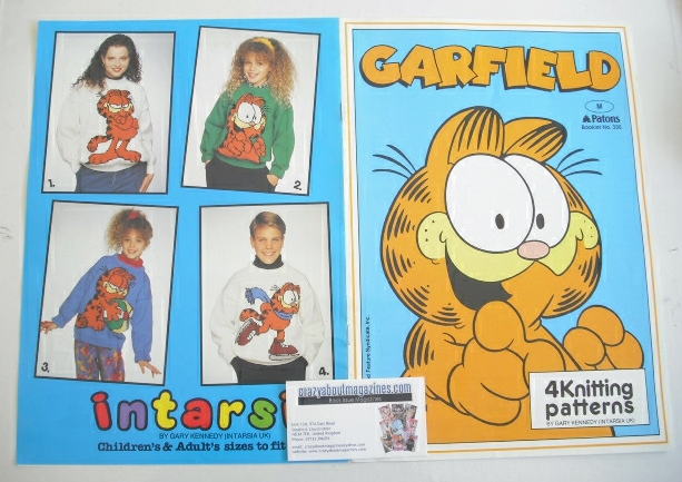 Garfield Sweater Knitting Patterns x4 (Patons 336) (Child/Adult Size)