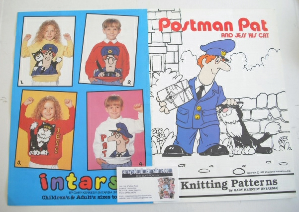Postman Pat and Cat Jess Sweater Knitting Patterns x4 (Intarsia) (Child/Adu