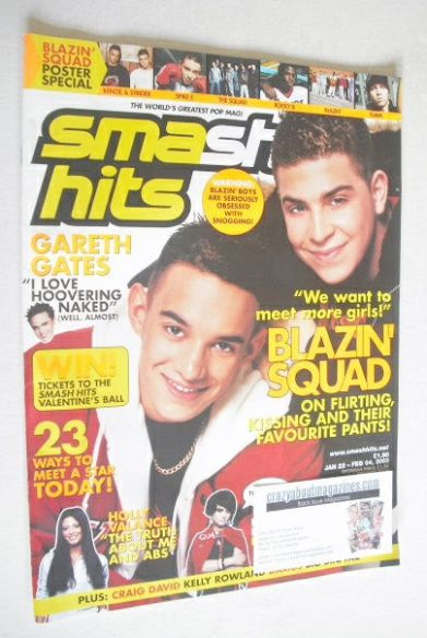<!--2003-01-22-->Smash Hits magazine - Blazin' Squad cover (22 January - 4
