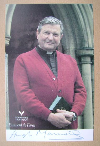 Hugh Manning autograph (hand-signed Reverend Donald Hinton cast card)