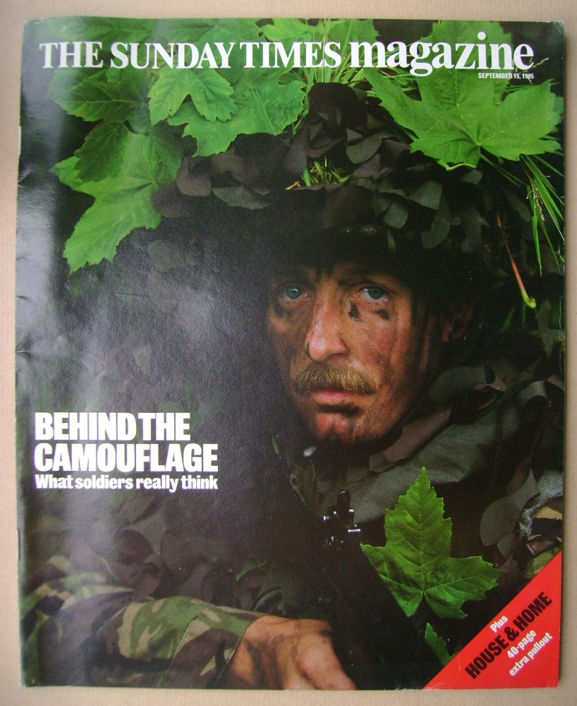 <!--1985-09-15-->The Sunday Times magazine - Behind The Camouflage cover (1