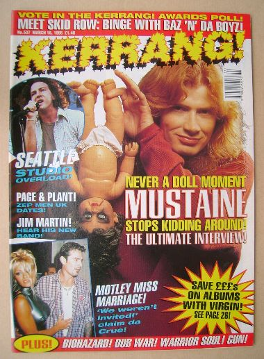 <!--1995-03-18-->Kerrang magazine - Dave Mustaine cover (18 March 1995 - Is