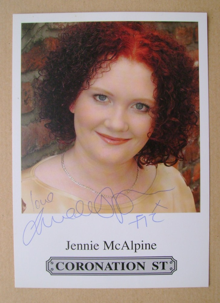 Jennie McAlpine autograph (Coronation Street actor)