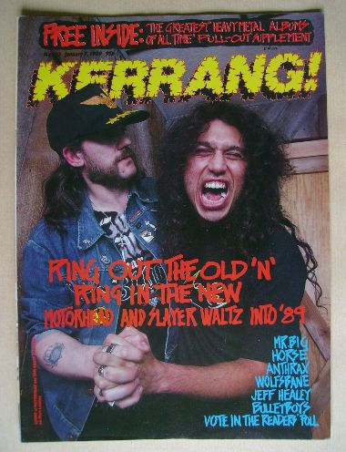 <!--1989-01-07-->Kerrang magazine - Lemmy and Tom Araya cover (7 January 19