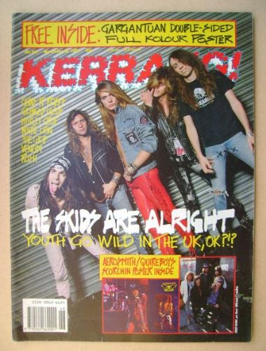 <!--1989-11-18-->Kerrang magazine - Skid Row cover (18 November 1989 - Issu