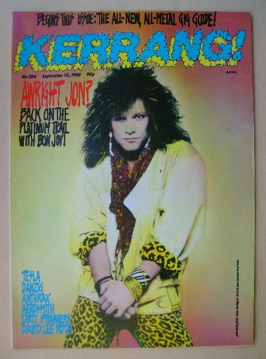 <!--1988-09-10-->Kerrang magazine - Jon Bon Jovi cover (10 September 1988 -