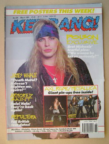 <!--1991-05-04-->Kerrang magazine - Bret Michaels cover (4 May 1991 - Issue
