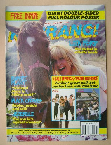 <!--1990-06-09-->Kerrang magazine - Lita Ford cover (9 June 1990 - Issue 29