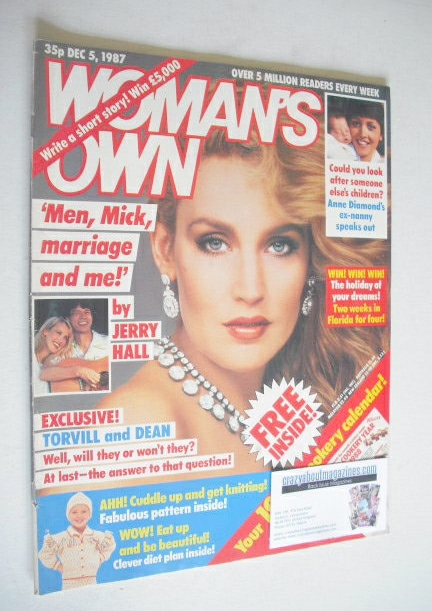 <!--1987-12-05-->Woman's Own magazine - 5 December 1987 - Jerry Hall cover